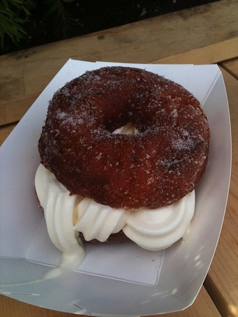 Lemon jasmine doughnut ice cream sandwich.