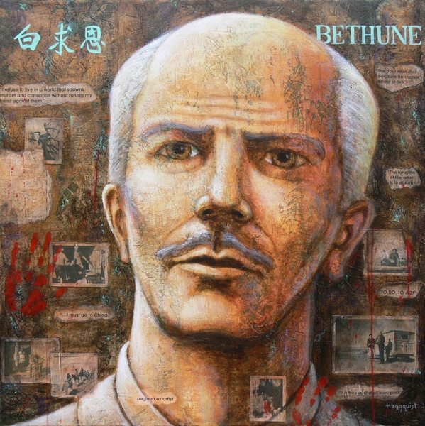 """Bethune"" by Gary Haggquist. Acrylic and collage on canvas, 36""x 36"", 2008."
