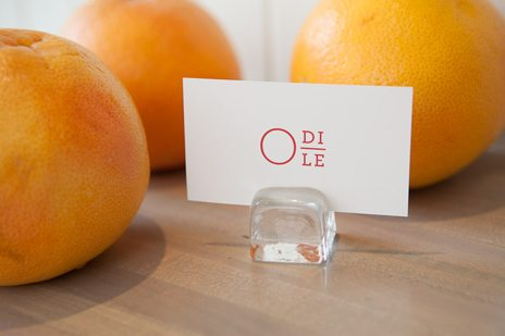 It's all about the little touches: a business card boasting Odile's unique logo. Photo by Rémi Thériault.