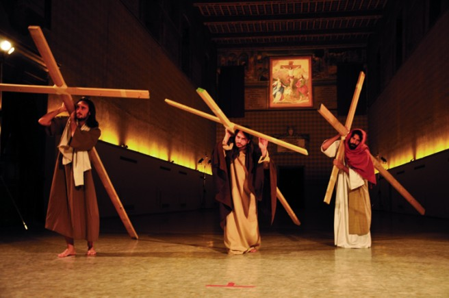 "Christian Jankowski, ""Casting Jesus,"" 2011. Performance at Santo Spirito, Rome. © Luise Müller-Hofstede, courtesy the artist and Lisson Gallery."