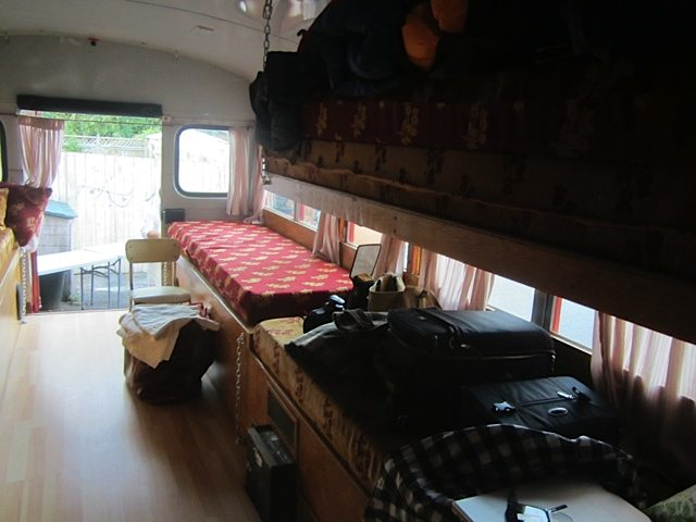 A view from the front of the bus to the sleeping area at the back. Many Chef's Congress attendees are camping at the event.