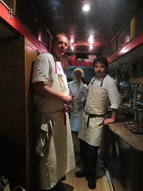 A tour of the bus with Stadtlander and his visiting German chef in residence Jorg Neth