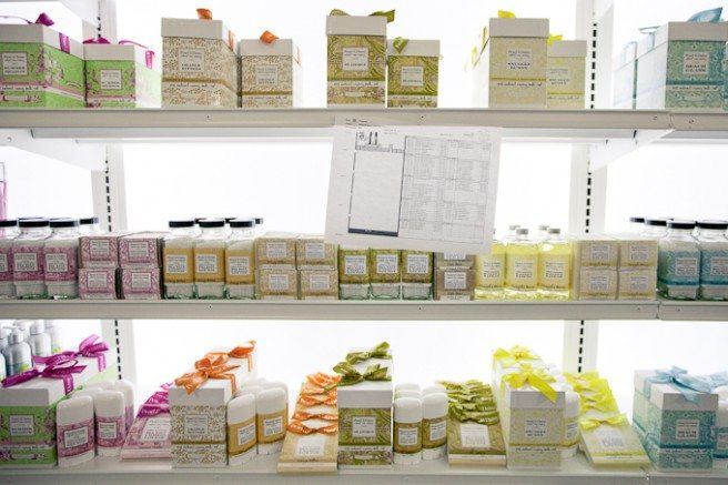 At terra20, the personal care products are organized by type, not brand. Handy!