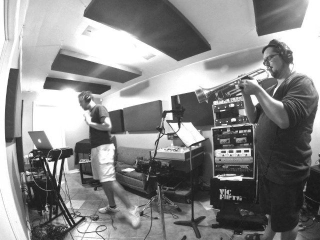 Photo cutline: Ouimet and Pedersen Take Time Out to Twerk; a studio session