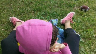 See how my pink shoes match so nicely with my kid's hoodie-dress? She's wearing off on me.
