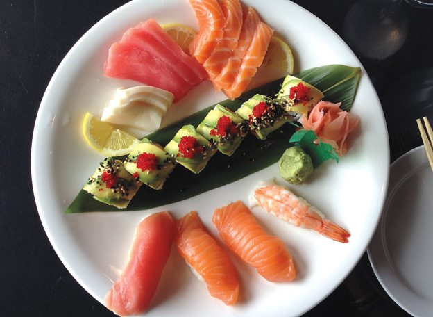 Sashimi, nigiri and maki at Oyster Bay. photo by Anne DesBrisay