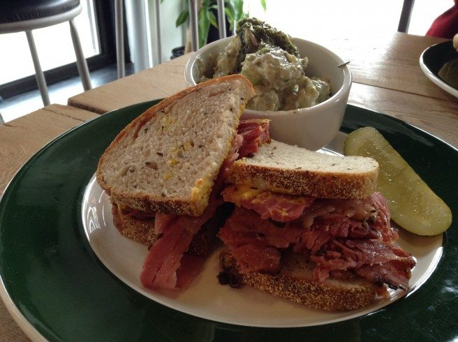Meat in the Middle's smoked meat on rye with potato salad. Photo by Anne DesBrisay