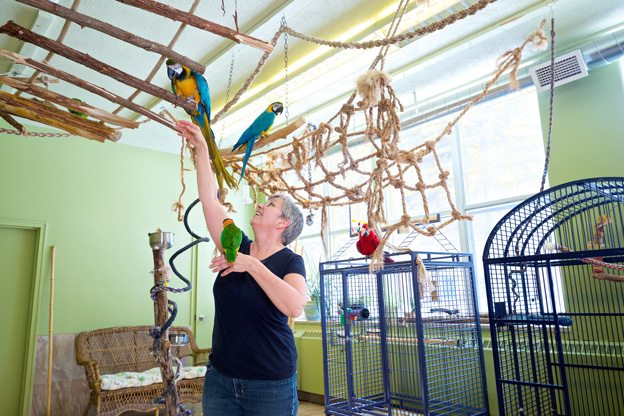 Judy Tennant at the Rainforest Aviary in Smiths Falls. Photo by Scott Adamson