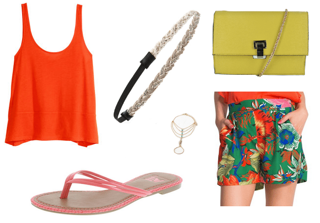 H&M sleeveless top, $13; hm.com; Forever 21 braided bead headband, $6; forever21.com; Inzi flap clutch with crossbody strap from Town Shoes, $42; townshoes.ca; Desigual Celia floral shorts, $59, desigual.com;  Forever 21 feather charm hand chain, $8; forever21.com; Payless American Eagle flip flops, $10; payless.com
