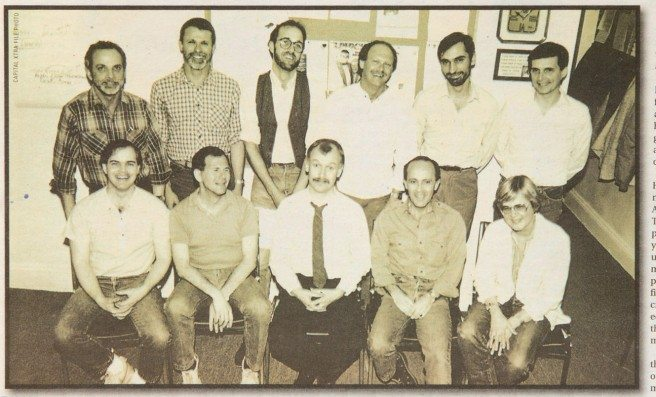 "BARRY'S BUDDIES — This 1986 photo shows Barry Deeprose (first row, second from right), who helped establish ACO, and his team of ""buddies"" who provided support to the HIV/AIDS  community in Ottawa. Photo: Courtesy of ACO"
