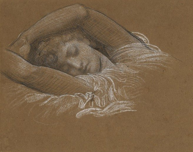 """Frederic Leighton Study of Iphigenia for """"Cymon and Iphigenia"""", 1883 black and white chalk on paper, 21.9 × 29.4 cm. Promised Gift from the Lanigan Collection. Photo © NGC"""